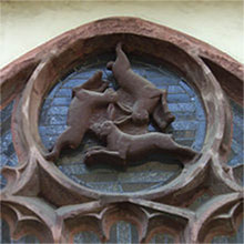 Window of Three Hares in Paderborn Cathedral in Paderborn, Germany